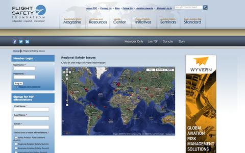 Screenshot of Maps & Directions Page flightsafety.org - Regional Safety Issues | Flight Safety Foundation - captured Sept. 25, 2014