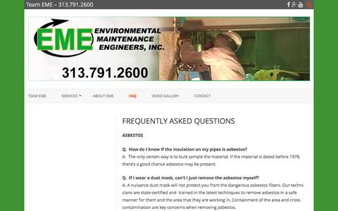 Screenshot of FAQ Page teameme.com - FREQUENTLY ASKED QUESTIONS – Team EME – 313.791.2600 - captured Nov. 9, 2016