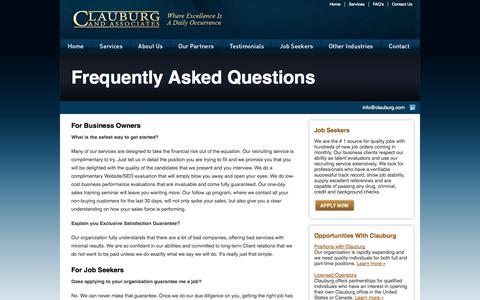 Screenshot of FAQ Page clauburg.com - Clauburg and Associates - Frequently Asked Questions | Clauburg And Associates - captured Oct. 2, 2014