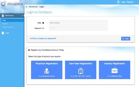 Screenshot of Login Page docspera.com - Login | DocSpera - captured Sept. 30, 2014