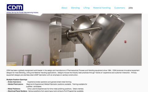 Screenshot of Jobs Page cdmlift.com - Jobs - captured Sept. 25, 2018