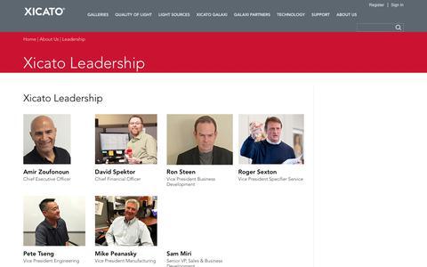 Screenshot of Team Page xicato.com - Xicato Leadership | Xicato - captured Sept. 20, 2018