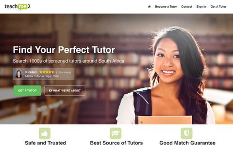 Screenshot of Home Page teachme2.co.za - South Africa's Most Effective Tutors – Teach Me 2 - captured Jan. 10, 2016