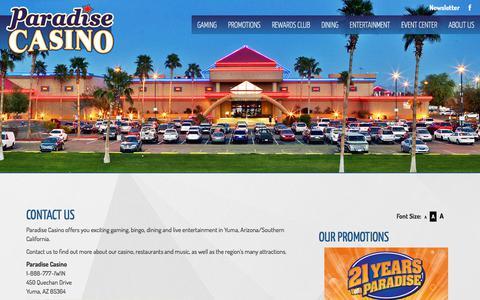 Screenshot of Contact Page paradise-casinos.com - PARADISE CASINO - captured July 14, 2017