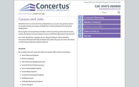 Screenshot of Jobs Page concertus.co.uk - Careers and Jobs - captured Oct. 2, 2014