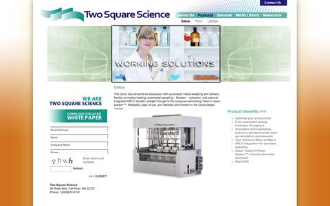 Screenshot of Products Page twosquarescience.com - Two Square Science – Working Solutions - Cetus - captured Oct. 7, 2014