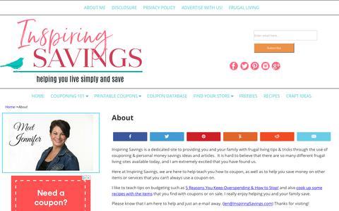 Screenshot of About Page inspiringsavings.com - About - captured Oct. 11, 2018