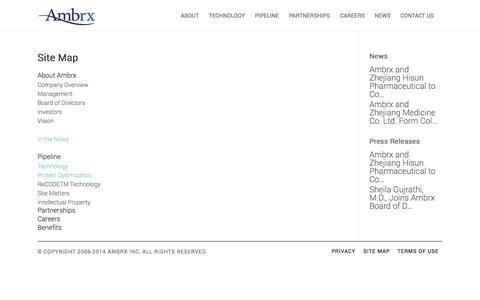 Screenshot of Site Map Page ambrx.com captured Nov. 5, 2014