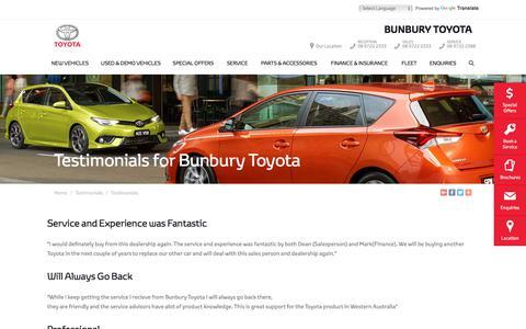 Screenshot of Testimonials Page bunburytoyota.com.au - Testimonials - Bunbury Toyota - captured Aug. 4, 2018