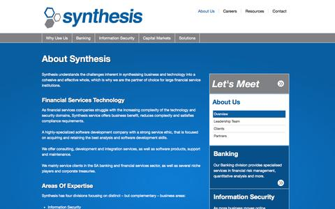 Screenshot of About Page synthesis.co.za - About Synthesis - Synthesis - captured Oct. 7, 2014