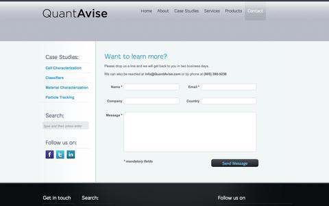 Screenshot of Contact Page quantavise.com - Contact | QuantAvise - captured Sept. 26, 2014