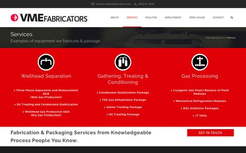 Screenshot of Services Page vmefabricators.com - Services | VME Fabricators - captured Oct. 26, 2014
