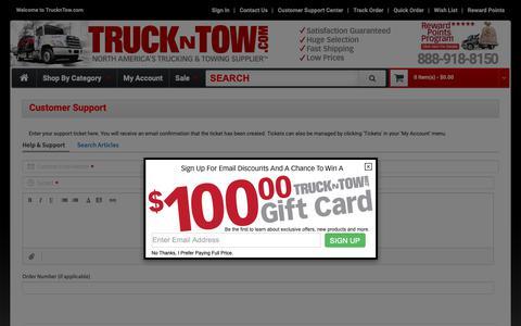 Screenshot of Support Page truckntow.com - Customer Support - captured Oct. 19, 2018
