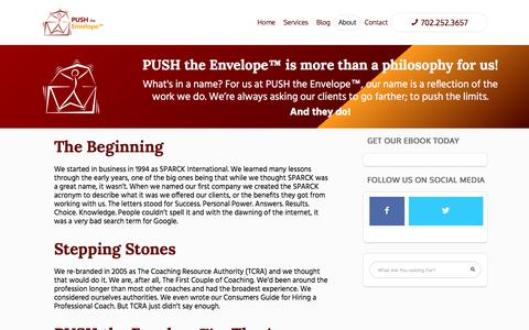 Screenshot of About Page pushtheenvelopemastermindsandcoaching.com - PUSH the Envelope™ Masterminds and Coaching - Challenge Your Limits - captured July 8, 2018