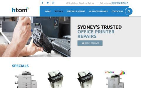 Screenshot of sydney-printerrepairs.com.au - Specials - captured April 3, 2016