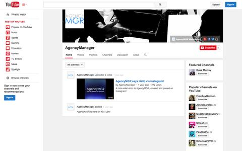 Screenshot of YouTube Page youtube.com - AgencyManager  - YouTube - captured Oct. 22, 2014