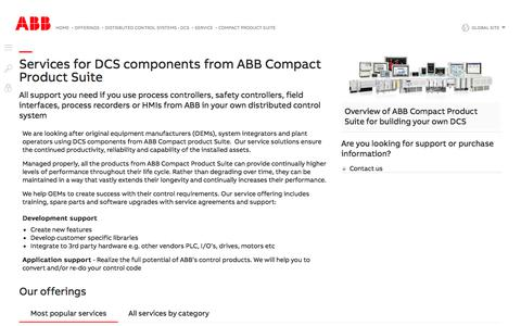 Screenshot of Support Page abb.com - Customer support and services for ABB Compact Product Suite for DCS - Services for ABB distributed control systems (DCS) - captured Nov. 9, 2019