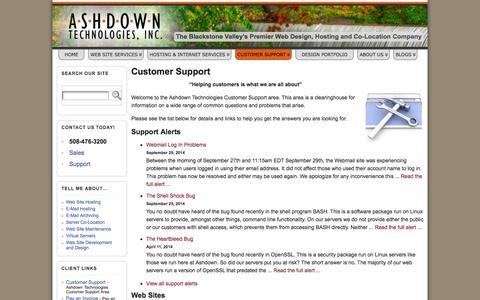 Screenshot of Support Page ashdowntech.com - Customer Support » Ashdown Technologies, Inc. - captured Oct. 4, 2014