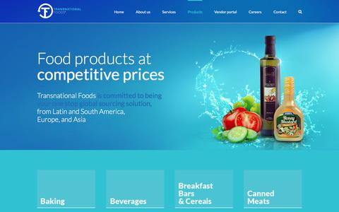 Screenshot of Products Page transnationalfoods.com - Products – Transnational Foods - captured Nov. 9, 2017