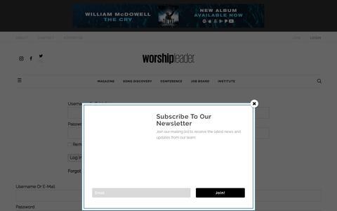 Screenshot of Login Page worshipleader.com - Login  - Worship Leader - captured Oct. 14, 2019
