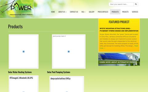 Screenshot of Products Page apsja.com - Products | Alternative Power Sources (Jamaica) Limited - captured Oct. 4, 2014