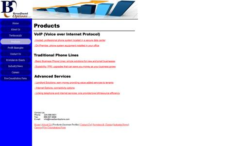 Screenshot of Products Page broadbandoptions.com - Products - captured Oct. 5, 2014