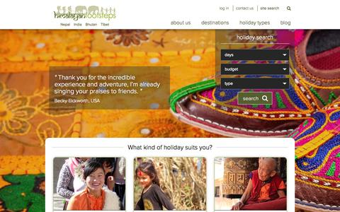 Screenshot of Home Page himalayanfootsteps.com - Authentic & original holidays, trekking & tours in Himalayas - captured Nov. 10, 2015