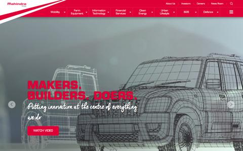Screenshot of Home Page mahindra.com - Mahindra.com | Rise - captured Dec. 1, 2015