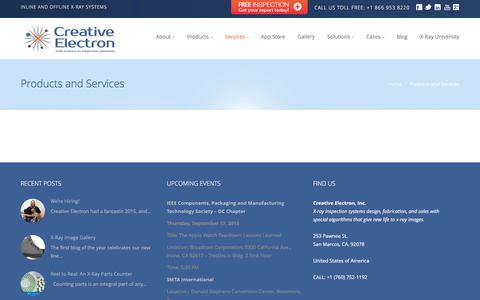 Screenshot of Services Page creativeelectron.com - Creative Electron » Products and Services - captured Feb. 1, 2016