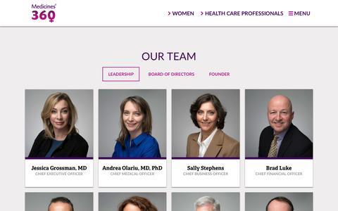 Screenshot of Team Page medicines360.org - Leadership – Medicines360 - captured July 27, 2018