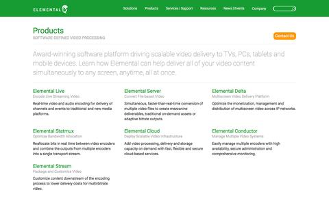 Screenshot of Products Page elementaltechnologies.com - Software-Defined Video Processing Enabling Multiscreen Delivery - captured Dec. 15, 2015