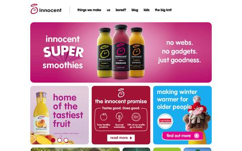 Screenshot of Home Page innocentdrinks.ie - Home - captured Jan. 28, 2015