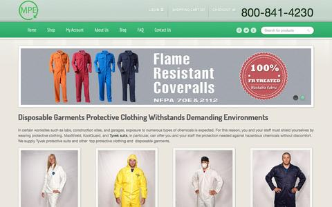 Screenshot of Home Page disposable-garments.com - Disposable Garments – Tyvek Suits & Disposable Coveralls - captured Oct. 2, 2014