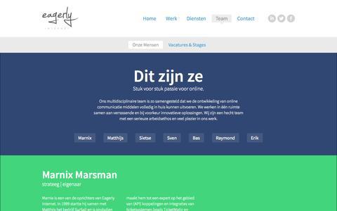 Screenshot of Team Page eagerly.nl - Onze mensen   Eagerly Internet - captured Oct. 1, 2014