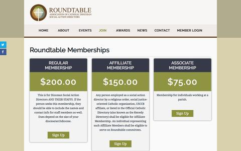 Screenshot of Signup Page catholicroundtable.org - Roundtable Association of Catholic Diocesan Social Action Directors - Join - captured June 9, 2016