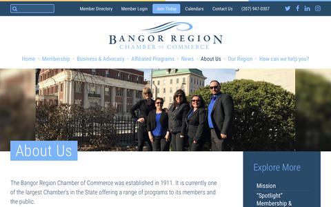 Screenshot of About Page bangorregion.com - Bangor Region Chamber of Commerce About Us - Bangor Region Chamber of Commerce - captured Oct. 10, 2017