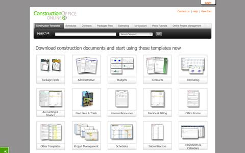 Screenshot of Home Page constructionofficeonline.com - Construction Office Online - captured Sept. 30, 2014