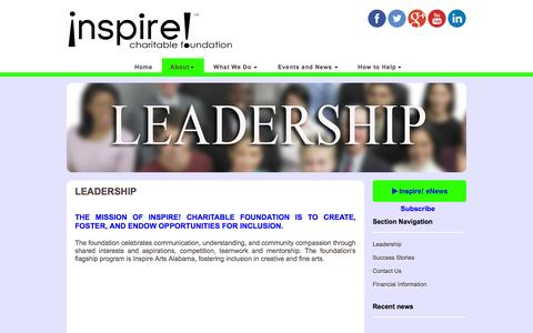 Screenshot of Team Page inspirecharitablefoundation.org - Inspire Charitable Foundation Leadership - captured Sept. 30, 2014