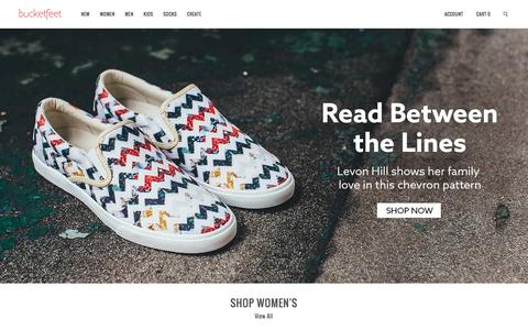 Screenshot of Home Page bucketfeet.com - BucketFeet   Artist Designed Footwear - captured Feb. 21, 2016