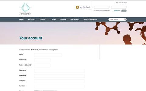 Screenshot of Signup Page zentech.be - Your account   Zentech - captured Oct. 19, 2017