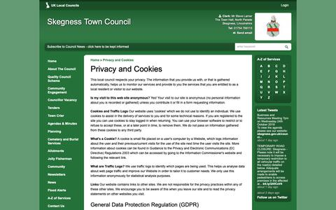 Screenshot of Privacy Page skegness.gov.uk - Privacy and Cookies   Skegness Town Council - captured Oct. 18, 2018