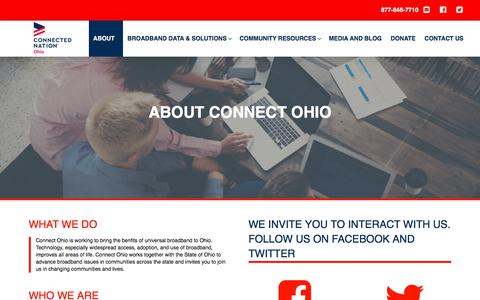 Screenshot of About Page connectednation.org - About | Connect Ohio - captured July 21, 2018