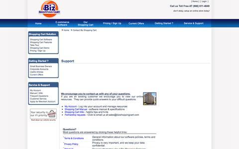 Screenshot of Contact Page Support Page bizshoppingcart.com - Biz Shopping Cart online store for e commerce. - captured Oct. 23, 2014