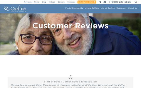 Screenshot of Testimonials Page carltonseniorliving.com - Customer Reviews - Carlton Senior Living - captured July 16, 2018
