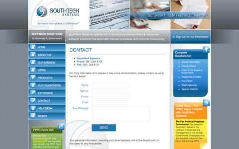 Screenshot of Contact Page southtechsystems.com - Contact South Tech Systems | SouthTech Systems™ - captured Dec. 16, 2016