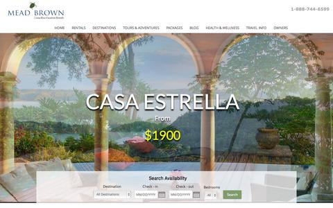 Screenshot of Home Page meadbrown.com - Costa Rica Luxury Vacation Rentals | Mead Brown - captured Sept. 18, 2015