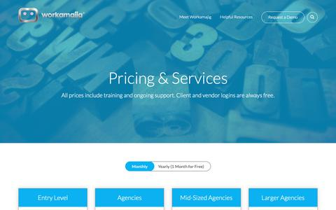 Screenshot of Pricing Page workamajig.com - Workamajig Platinum Pricing | Project Management & ERP Software - captured Feb. 19, 2019