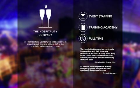 Screenshot of Home Page thehospitalitycompany.net - The Hospitality Company | Part time and Full time staff for the hospitality industry in London. - captured Oct. 7, 2014