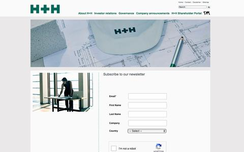 Screenshot of Signup Page hplush.com - Subscribe to our newsletter - H+H - captured Sept. 25, 2018
