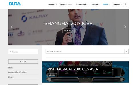 Screenshot of Press Page duraauto.com - Media — DURA | Innovation Driven by Inspiration.™ - captured June 13, 2018